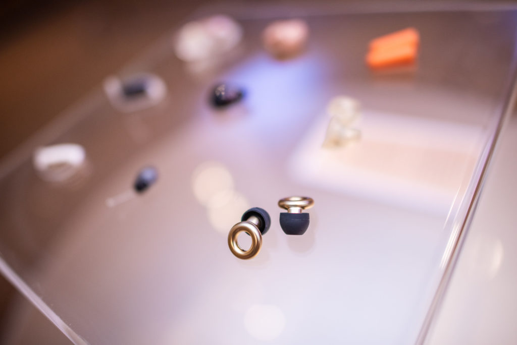 A variety of hearing aids were on display as part of the HearMe art exhibition.