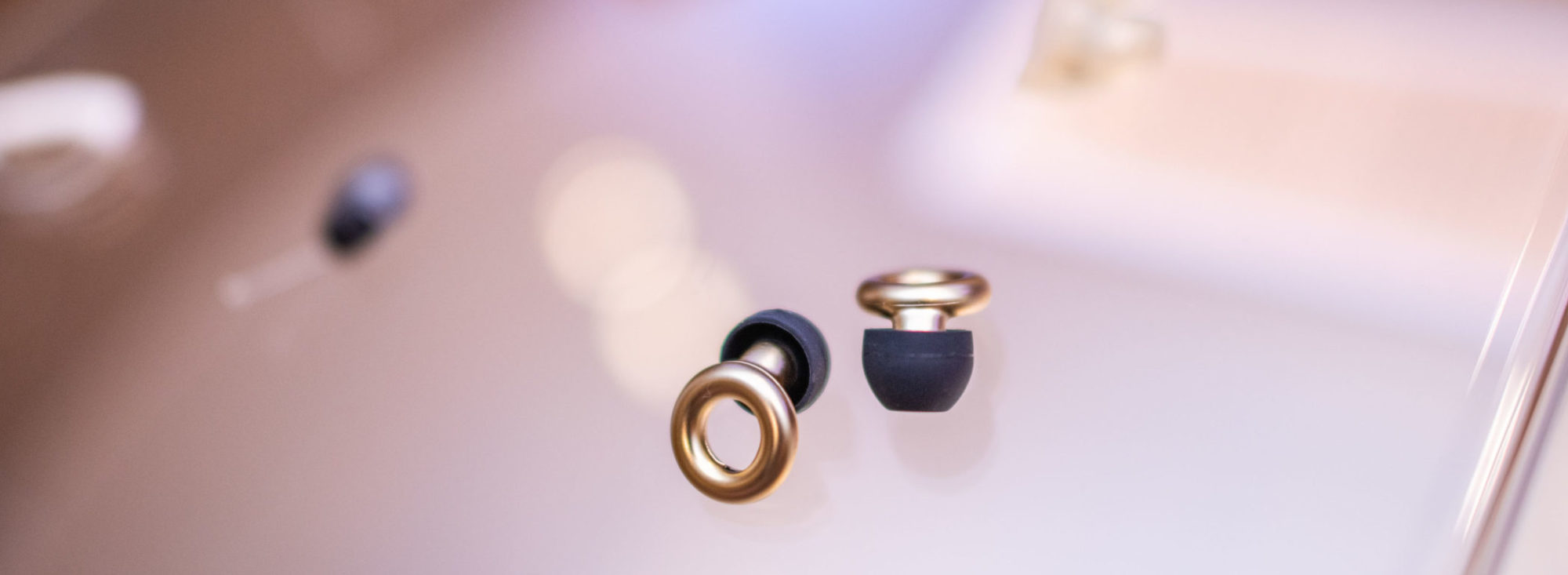 A display of various hearing aids and devices