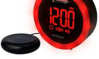 The compact and portable Wake 'n' Shake Dynamite is an alarm clock with features that are useful not only for the hard of hearing but also for heavy sleepers and students.